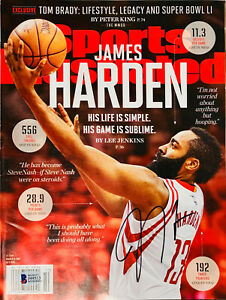 Nets James Harden Signed Sports Illustrated Magazine Beckett BAS Witnessed COA