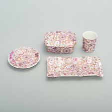 4 Limoges Porcelain Pieces made in France Cup, Dishes, Trinket Box Pink Paisley