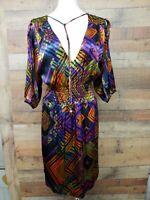Postella 7650 ARGYLE 100% Silk Blouse/Dress Women's Size: L NWT