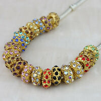 Lots Czech Crystal Gold Plated Big Hole Spacer Charm Beads for European Bracelet