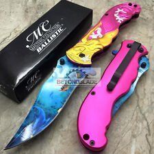 "MC Collection Gold Pink Mermaid Tactical Rescue Pocket 5"" Knife MC-A013PK"