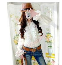 Elegant Top High Neck Frilly Ruffle Womens Victorian Long Sleeve Shirt Blouse 19