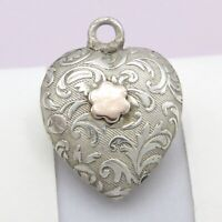 Antique Victorian Sterling Silver Rose Gold Puffy Heart Charm Pendant