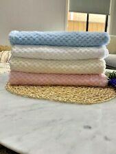 Baby Blanket Cot Nursery Pram Polyester Pink White Blue Cream Thick Warm Winter