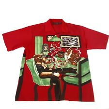 Dragonfly Clothing Co Mens XL Shirt Dogs Playing Poker Button Short Sleeve Cigar