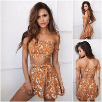 Beach 2 Piece Outfit Summer Sexy Crop Top Mini Skirt Set Boho Womens Casual Suit