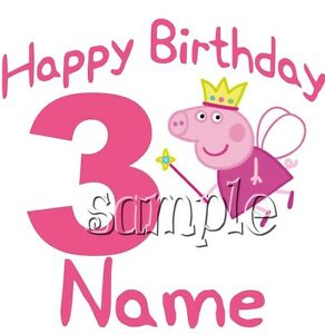 IRON ON TRANSFER PERSONALISED birthday ANY NAME/NUMBER peppa pig fairy princess