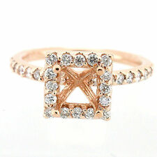 Solid 14k Rose Gold Semi Mount Diamond Halo Ring Setting  0.63 Cts -Princess Cut