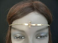 WOMEN SILVER METAL CROSS HEAD BAND CHAIN GRECIAN CIRCLET FASHION JEWELRY CHARM