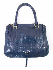 BESSO BLUE SNAKESKIN LUXURY ITALIAN HANDBAG SHOULDER BAG TOTE PURSE B13
