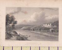 C1815 Antico Piccolo Georgiano Stampa ~Abbotsford~ Residenza Di Sir Walter Scott