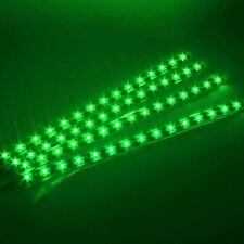 4PC Green 30cm Car Auto Flexible Grill Light Lamp Strip Waterproof 15SMD 12V LED