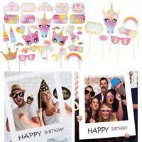 30x Unicorn Happy Birthday Photo Frame Booth Props Wedding Party Photography UK