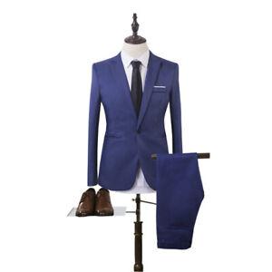 2 tlg Herren Anzug Business Hochzeit Smoking Slim Fit Anzug Jacke Hose Gentleman