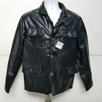 Emporio EGA Luxury Collection Italian Men's Black Faux Leather Jacket M NWT