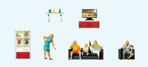 Preiser HO Scale Model Figure/People Set - Family Watching TV 5 People/Furniture