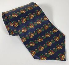 Men's Neck Tie JINGLE BELLS DARK BLUE GOLDEN CHRISTMAS holiday season Pre-owned