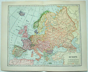 Original 1903 Map of Europe by Dodd Mead & Company. Antique