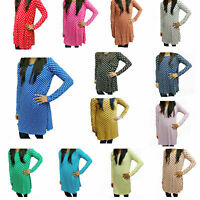 WSD Woman Lady Polka Dot Long Sleeve Skater Round Neck Casual Party Swing Dress