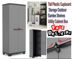 PLASTIC SHED OUTDOOR STORAGE UNIT CUPBOARD TALL GARDEN TOOL LOCKABLE UNIT SHEDS