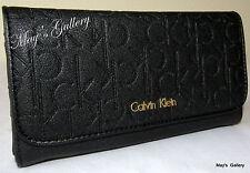 Calvin Klein Wristlet Hand Bag Mega Flap Handbag Purse Wallet  Clutch  Coin CK