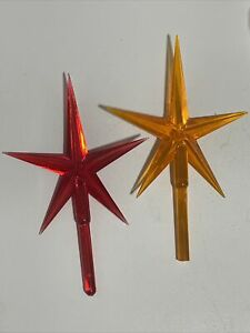 """2 Vintage Ceramic 4"""" Christmas Tree Topper Atomic Star Atlantic Mold Replacement"""