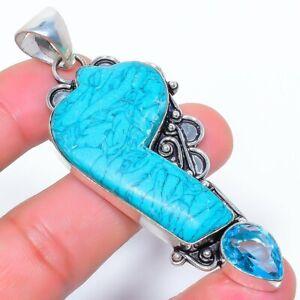 "Santa Rosa Turquoise & Blue Topaz 925 Sterling Silver Pendant 3.1"" M1519"