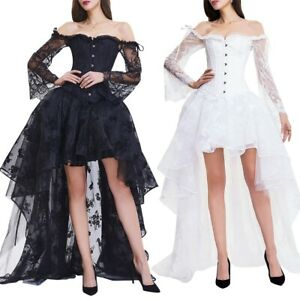 Womens Lace Corset Dress Gothic Overbust Bridal Sexy Bustier Skirt Costumes Set
