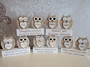 Special mum nan friend sister daughter wooden gift Dreamy owls Mothers day gifts