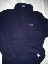 VTG POLO RALPH LAUREN COTTON KNIT BUTTON LOOP SPELL OUT LOGO SWEATER SHIRT- L