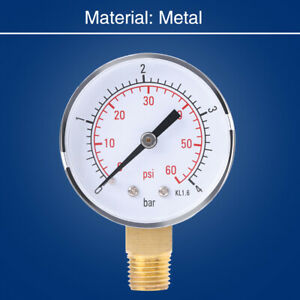 """Mini Fuel&Air&Oil&Water Pressure Gauge -4bar/0-60psi 1/4""""NPT With Double Scale"""