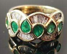 2TCW Designer Pear Emeralds Baguette Diamond 14k yellow gold band