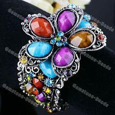 Fashion Colorful Resin Crystal Flower Bracelet Bangle