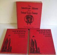 3 Vintage Stamp Albums MODERN POSTAGE AMERICAN ALBUM Stamp Collection