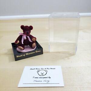 World of Miniature Bears Maroon Bear with Ribbon ~ Theresa's Bear 1997