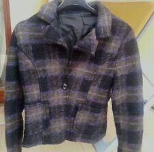 Giacca VINTAGE lana donna usato manica lunga quadri scozzese TG.42