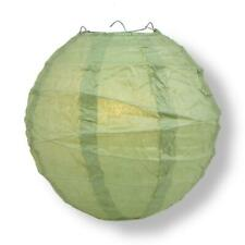 "20"" Sea Green Round Paper Lantern, Crisscross Ribbing, Hanging Decoration"