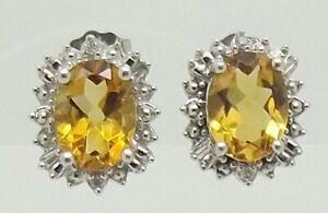 SOLID 10CT WHITE GOLD CITRINE & DIAMOND STUD EARRINGS
