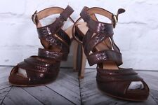 NINE WEST Brown Leather Snake Strappy Slingback High Heels Sandals RRP £99 US 8