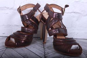 NINE WEST High Heels Sandals Brown Leather Snake Strappy Slingback RRP £99 US 8