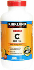 Kirkland Signature Vitamin C 500mg Chewable Tablets, Tangy Orange - 500 Count