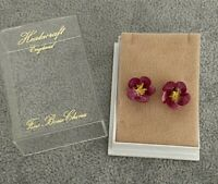 VINTAGE Floral Fine Bone China Earrings Pink Pretty Boxed Made in England