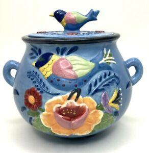 Colorful Blue Floral Ceramic Lidded Pot/Jar Sugar Bowl Dish Blue Bird Handle Lid