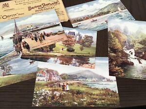 TUCK Oilette INVERARY series 7553 set x 6 + Envelope 1900s POSTCARD 14/10