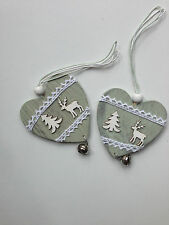 2 PIECES Reindeer Christmas decoration wood hearts with small bell hanging decor