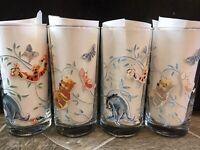 4 Winnie The Pooh DRINKING GLASS TUMBLERS Butterflies TIGGER EEYORE PIGLET 5 7/8