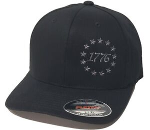 1776 Betsy Ross 13 Colonies Stars Embroidered FLEXFIT Black Cap Hat, 5001