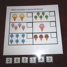 Ice Cream Match the Number laminated preschool child learning game for daycare c