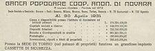 W6220 Banca Popolare Coop. Anon. di Novara - Torino - Pubblicità 1934 - Advert.
