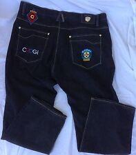 COOGI Men's Black 44 x 35 5-Pocket Embroidered Patches Jeans Urban Hip Hop Pants